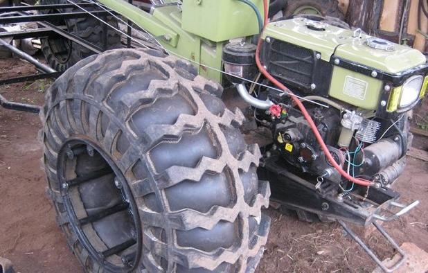 Мотоблок на шинах низкого давления своими руками